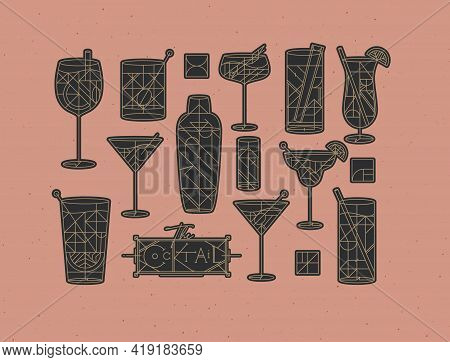 Art Deco Cocktails Set Drawing In Line Style With Fill Dark On Powder Coral Background