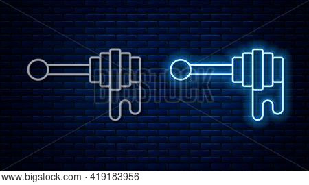 Glowing Neon Line Honey Dipper Stick With Dripping Honey Icon Isolated On Brick Wall Background. Hon