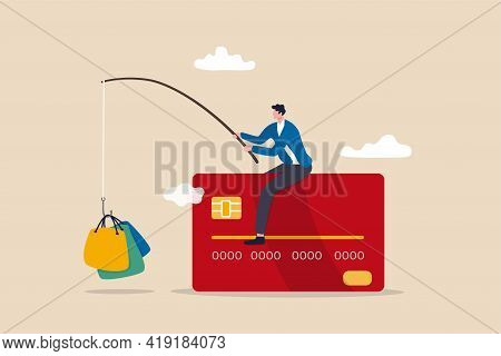 Consumerism And Marketing Luring People To Shop With Credit Card Debt Risk, Man Sitting On Credit Ca