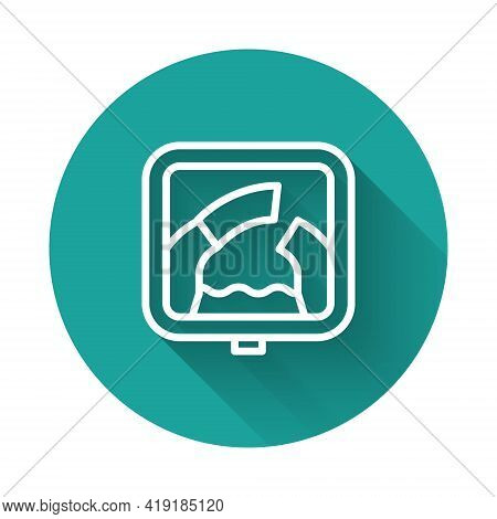 White Line Drawbridge Ahead Icon Isolated With Long Shadow Background. Information Road Sign. Green