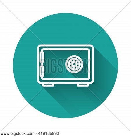 White Line Safe Icon Isolated With Long Shadow Background. The Door Safe A Bank Vault With A Combina