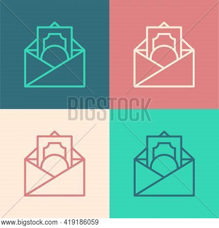 Pop Art Line Envelope With Coin Dollar Symbol Icon Isolated On Color Background. Salary Increase, Mo