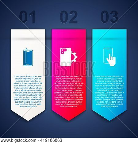 Set Glass Screen Protector, Phone Repair Service And . Business Infographic Template. Vector
