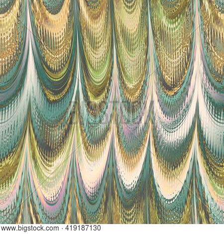 Mother Of Pearl Metallic Wavy Pattern. Iridescent Texture Silver Gold Folds