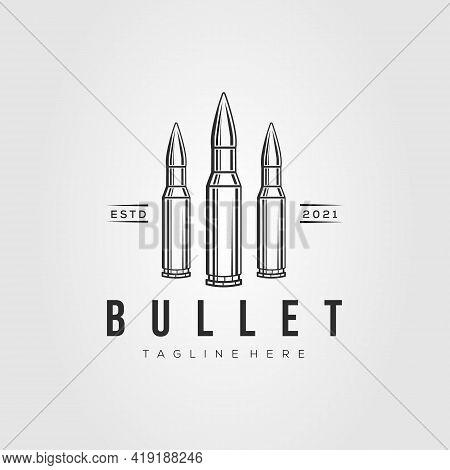Ammo Line Art Logo Template Vector Illustration Design. Simple Isolated Bullet, Ammunition Line Art