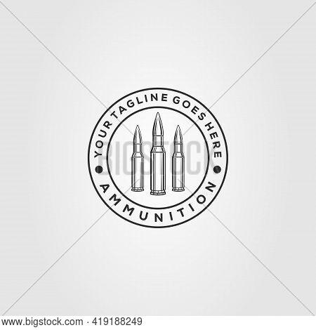 Minimalist Bullet, Ammo Line Art Badge Logo Template Vector Illustration Design
