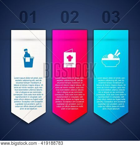 Set Champagne In An Ice Bucket, Cookbook And Asian Noodles Bowl. Business Infographic Template. Vect