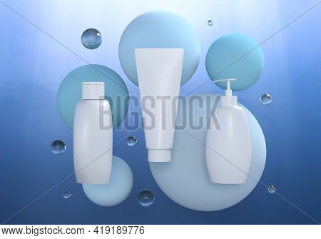 Empty Cosmetic Mocap Bottles Under Water With Drops. Blue Template For A Cosmetics Brand Presentatio