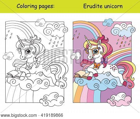 Cute Unicorn Lying On A Cloud And Reading A Book. Coloring Book Page For Children With Template. Vec