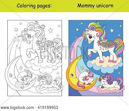 Mommy Unicorn With Two Sleeping Babies. Coloring Book Page For Children With Colorful Template. Vect