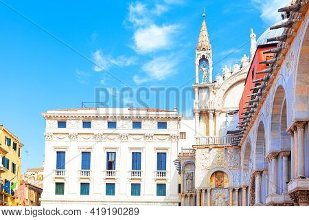 Side View Of  Saint Mark Basilica In Venice . Patriarchal Cathedral Basilica Of Saint Mark