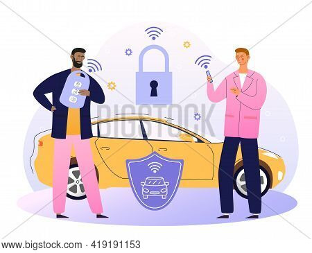 Businessman With Car Remote Key And Shield At Car With Padlock. Car Alarm System, Anti-theft System,