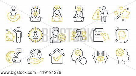 Set Of People Icons, Such As Share, Search People, Save Planet Symbols. Engineering, Head, Select Us