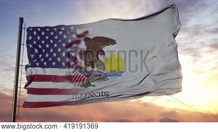 Illinois And Usa Flag On Flagpole. Usa And Illinois Mixed Flag Waving In Wind. 3d Rendering