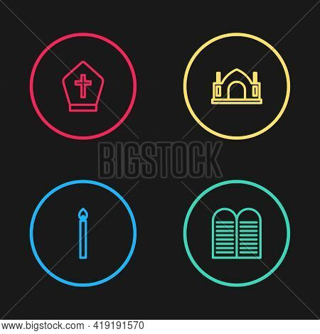Set Line Burning Candle, The Commandments, Hindu Spiritual Temple And Pope Hat Icon. Vector