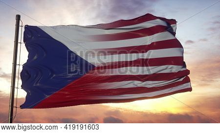 Czech Republic And Usa Flag On Flagpole. Usa And Czech Republic Flag Waving In Wind. 3d Rendering