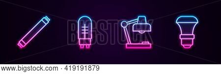Set Line Fluorescent Lamp, Light Emitting Diode, Table And Led Light Bulb. Glowing Neon Icon. Vector