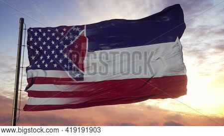 Mississippi And Usa Flag On Flagpole. Usa And Mississippi Mixed Flag Waving In Wind. 3d Rendering