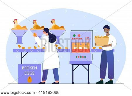 Male And Female Chicken Poultry Production Factory Machine. Concept Of Commercial Character Making E