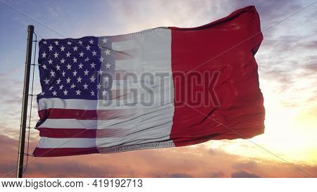 France And Usa Flag On Flagpole. Usa And France Mixed Flag Waving In Wind. 3d Rendering