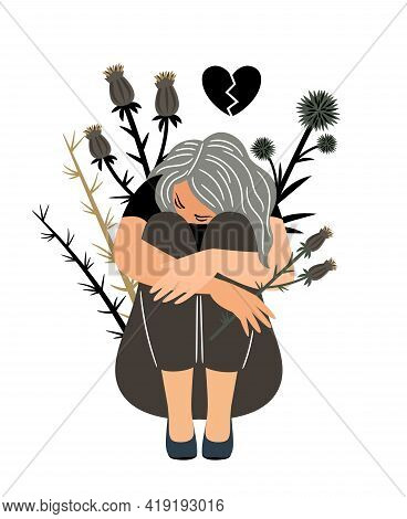 Girl In Sorrow. Cartoon Depressed Woman With Problems Of Mental Health, Vector Illustration Of Unhap