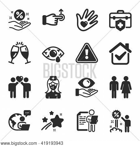 Set Of People Icons, Such As Loan Percent, Discount, Nurse Symbols. Drag Drop, Medical Insurance, So