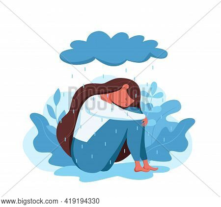 Depressed Sad Lonely Woman In Anxiety, Sorrow Vector Cartoon Illustration.
