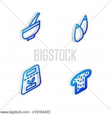 Set Isometric Line Seed, Mortar And Pestle, Pack Full Of Seeds Of Plant And Bread Toast Icon. Vector