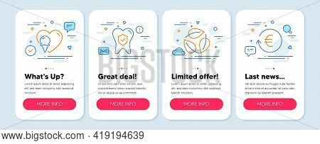 Set Of Line Icons, Such As Ice Cream, Dental Insurance, Leaves Symbols. Mobile Screen Mockup Banners