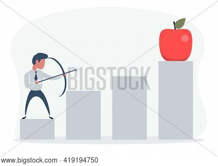 A Businessman Hit By An Arrow In An Apple. Shooting From A Bow And Arrow, This Is A Sign Of Progress