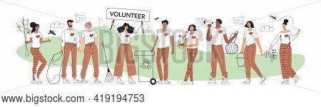 Eco Volunteers And Volunteering Concept. Set Of Diverse Characters Save Ecology Environment. Group Z
