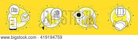 Buildings, Construction Building And Fragile Package Line Icons Set. Cell Phone, Megaphone And Deal