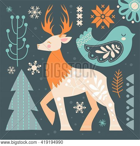 Beautiful Abstract Postcard With Wild Deer In Scandinavian Style. Geometric Elements And Proud Deer.
