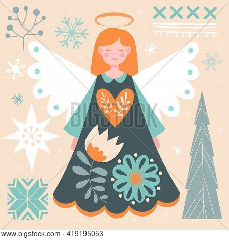Beautiful Abstract Postcard With Redhead Angel In Scandinavian Style. Geometric Elements, Cute Angel