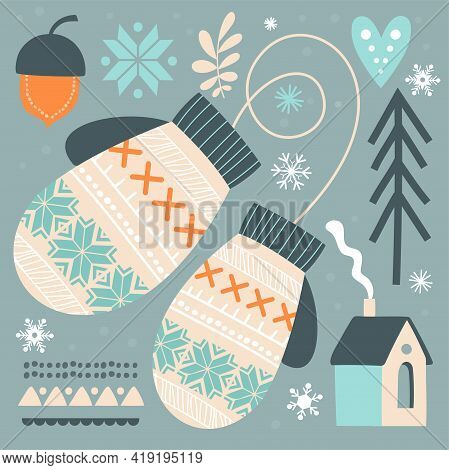Beautiful Abstract Postcard With Winter Gloves In Scandinavian Style. Geometric Element And Cute Ang