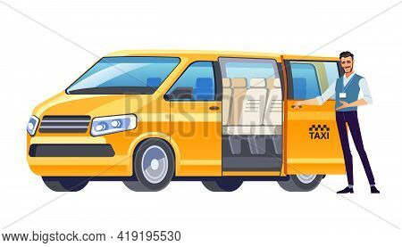 Taxi Driver Inviting Passenger Get Into Minibus Taxi. Van Car Driver Service. Cab Company Business.