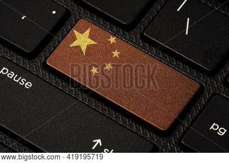 China Republic Flag Print Screen On Computer Laptop Keyboard , China Country Is Leader Of Asia Both