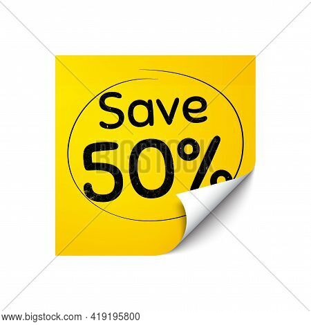 Save 50 Percent Off. Sticker Note With Offer Message. Sale Discount Offer Price Sign. Special Offer