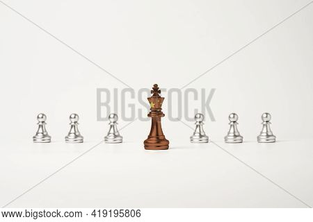 China Flag Print Screen On King Chess In Front Of Silver Pawn Chess , China Country Is Leader Of Asi