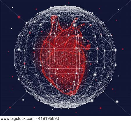 Futuristic Medical Concept With Red Human Heart And Plexus Sphere. Abstract Geometric Design With Pl