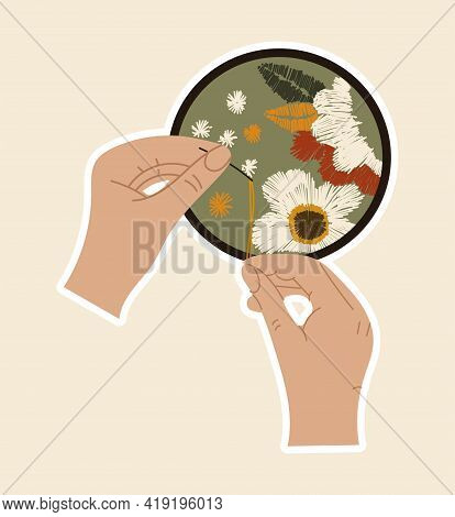 Sticker Of Hands With Needle And Thread Sewing Artwork With Flowers. Concept Of Sewing Or Needlework