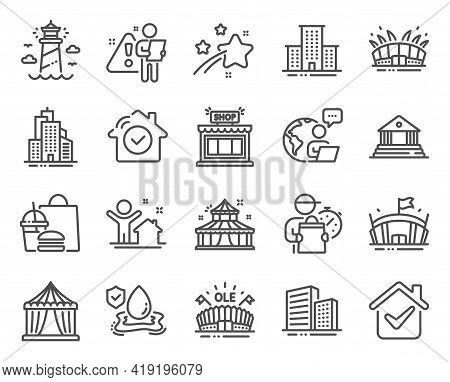Buildings Icons Set. Included Icon As Lighthouse, Court Building, Arena Stadium Signs. House Securit