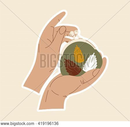 Sticker Of Hands Holding Small Beautiful Purse With Sewing Artwork Of Flowers. Concept Of Sewing Or