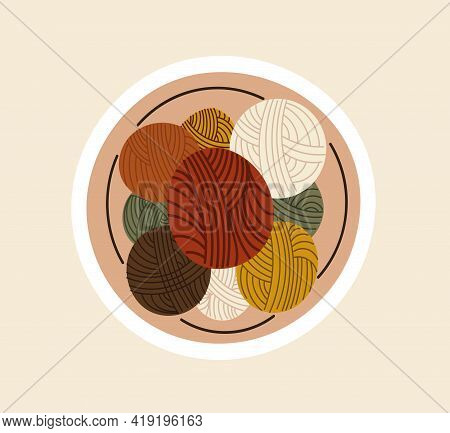 Sticker With Beautiful Colorful Balls Of Thread For Sewing. Concept Of Sewing Or Needlework Stickers