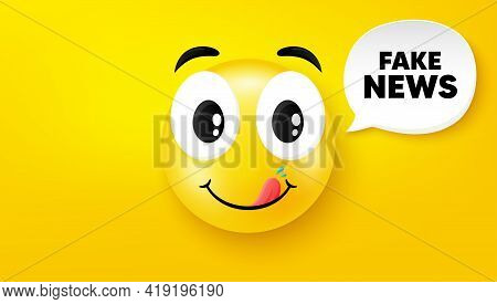 Fake News Symbol. Yummy Smile Face With Speech Bubble. Media Newspaper Sign. Daily Information. Yumm