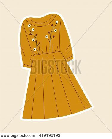 Sticker With Beautiful Yellow Dress Sewed With Flowers On Cloth. Concept Of Sewing Or Needlework Sti