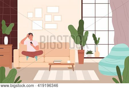 Man On Couch Relax. Person Seating In Comfortable Living Room Leisure In Different Poses On Sofa Dre