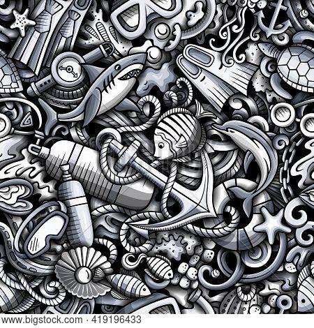 Cartoon Doodles Diving Seamless Pattern.