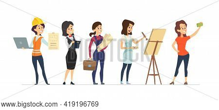 Female Diverse Professions. Young Women Workers, Isolated Different Occupation Girls Vector Characte