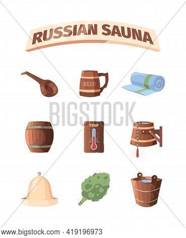 Russian Sauna. Bathing Baden Accessories Relax Hot Place Hat Broom Bathroom Garish Vector Sauna Item